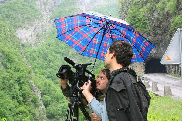Santiago Rodríguez filming in Moraca canyon (Montenegro) with Nemanja Nedeljkovic.